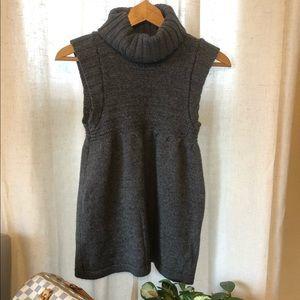 Zara Gray Sleeveless Cowl Neck Chunky Sweater